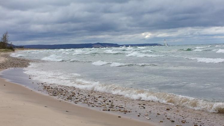 angry lake and beach